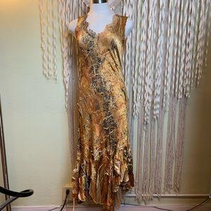 Komarov Gold/Brown Hi/Low Hemline Maxi Dress M